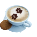 vespagirl - coffee cappuccino paw prints cookie - Beverage